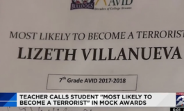 Texas teacher disciplined after giving student 'terrorist' award