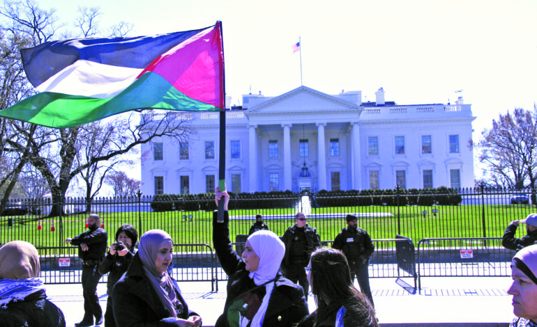 Activists march in Washington to protest U.S. support for Israel