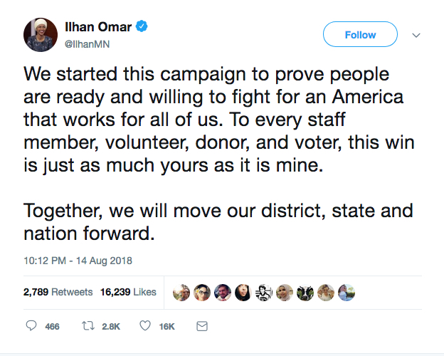 Ilhan Omar tweets her victory in the primary