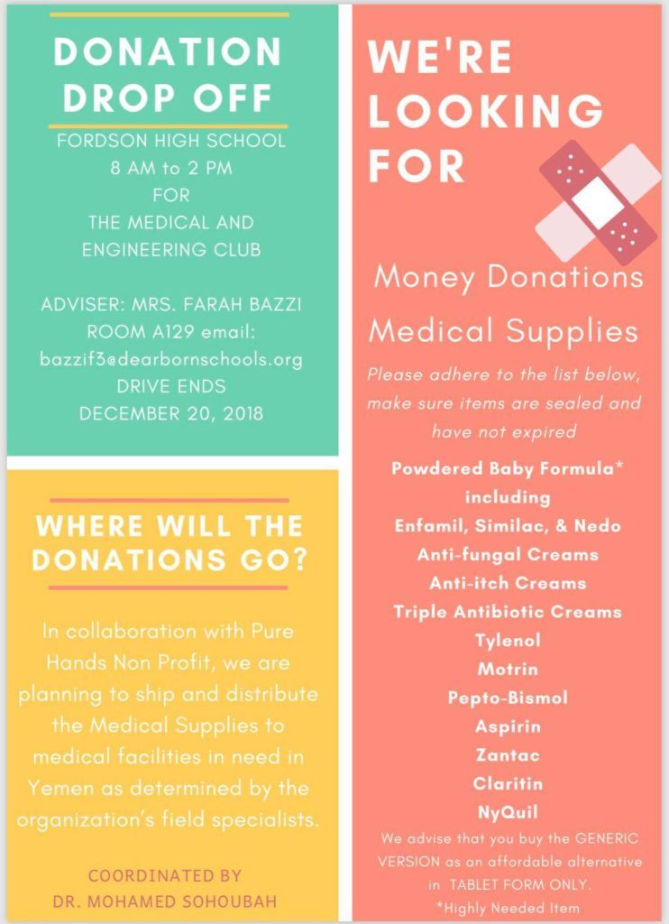 Upcoming Yemen donations drive in Dearborn