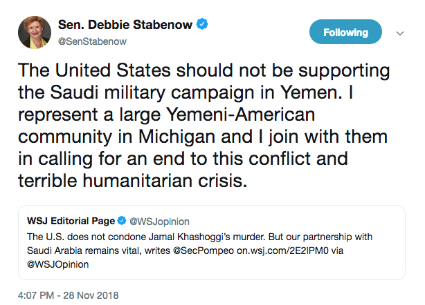 Stabenow tweet on Yemwen war