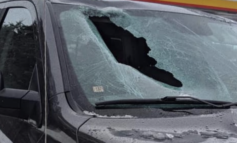 Chunk of ice goes through windshield on Mackinac bridge