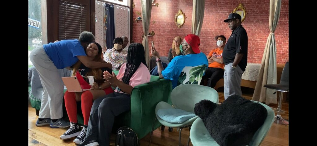 On Aug. 2, EQ Healing Spa hosted a Watch Party to view the ZBA reconsideration meeting. Photo: Tiara Boyd