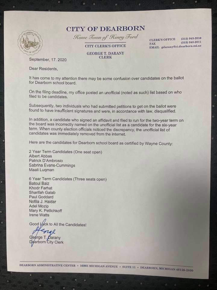 Dearborn City Clerk George Darany corrected the records and released a statement explaining the reason for the changes 56 days after the deadline for withdrawal, and after The Arab American News contacted him on September 15 to inquire about the confusion and the discrepancy between the ballot and his earlier statement.