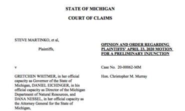 """Claims court says Michigan's """"stay home"""" order does not violate constitution"""
