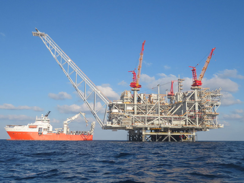 Drilling at the Leviathan gas field in the Mediterranean Sea