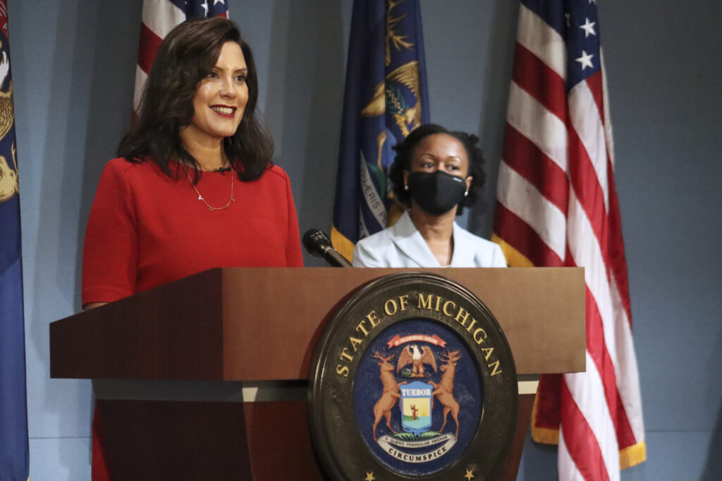 Governor Whitmer speaks to the state from Lansing, Wednesday, Sep. 16.