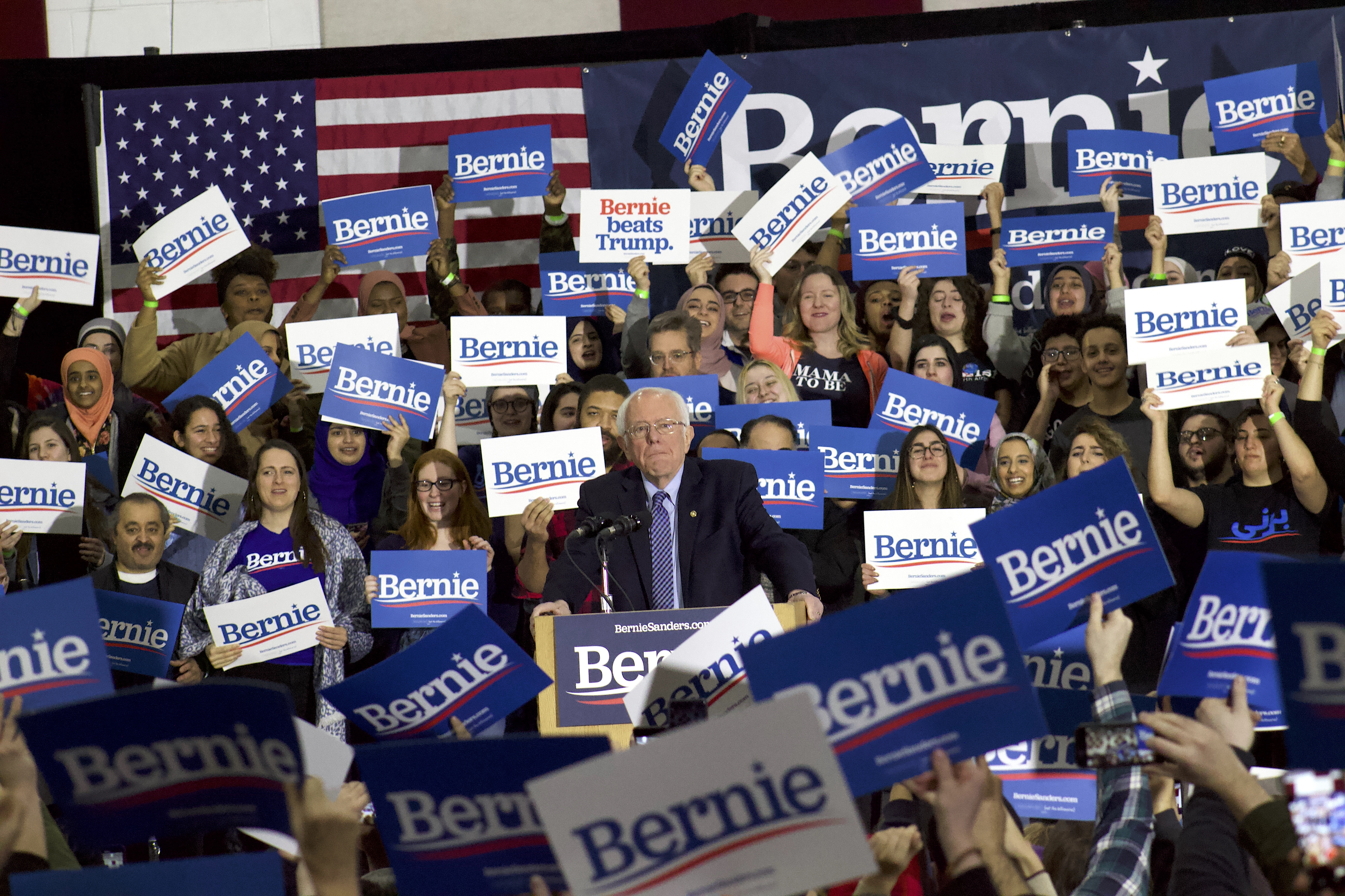 Bernie Sanders at a campaign rally in Dearborn, March, 2020. Photo: Hassan Abbas/The Arab American News