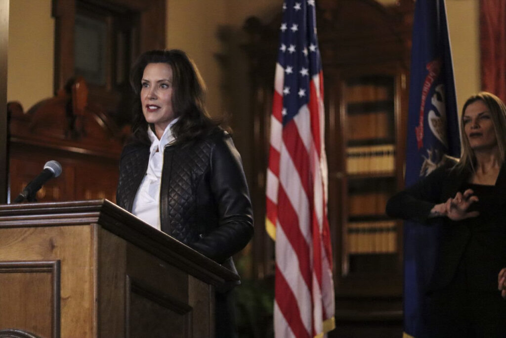 Governor Whitmer hold press conference from Lansing on Thursday, Oct. 8, after arrests and charges were announced for men that had conspired to kidnap her. Photo: Office of the Governor