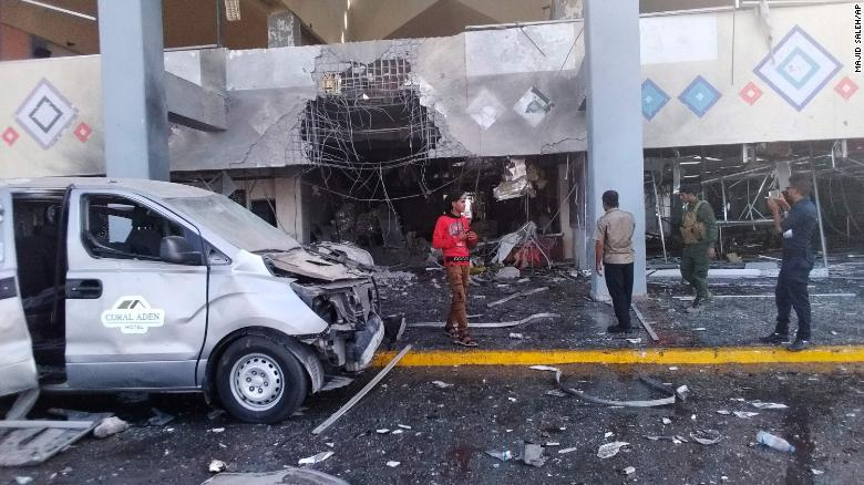 Deadly explosion at Yemen's Aden Airport. The attack created a large hole in the ground and caused severe damage to an airport hall. Photo: CNN