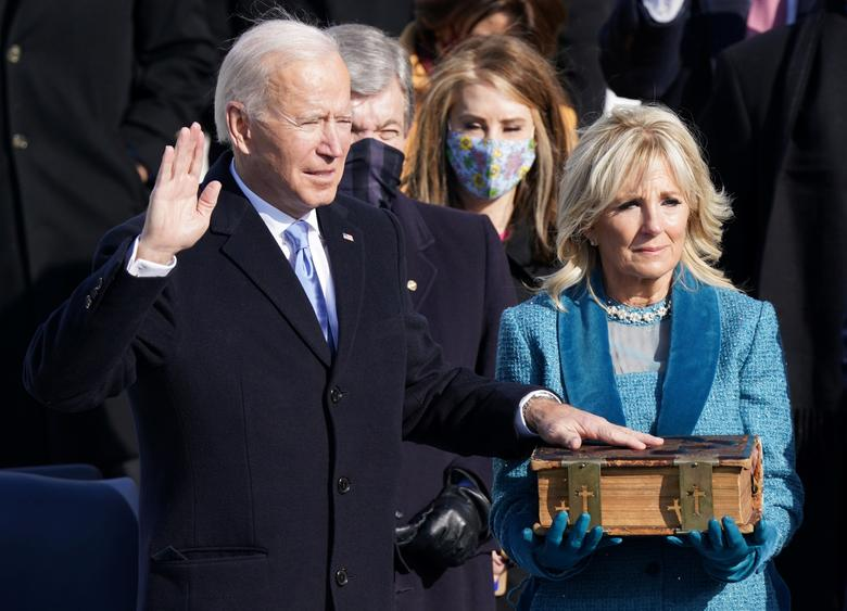 President Biden gets sworn in at the U.S. Capitol, Wednesday, Jan. 20
