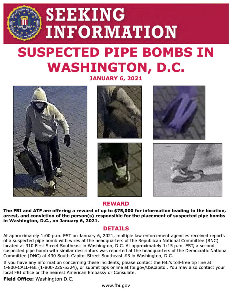 Reward information for D.C. pipe bombs suspect