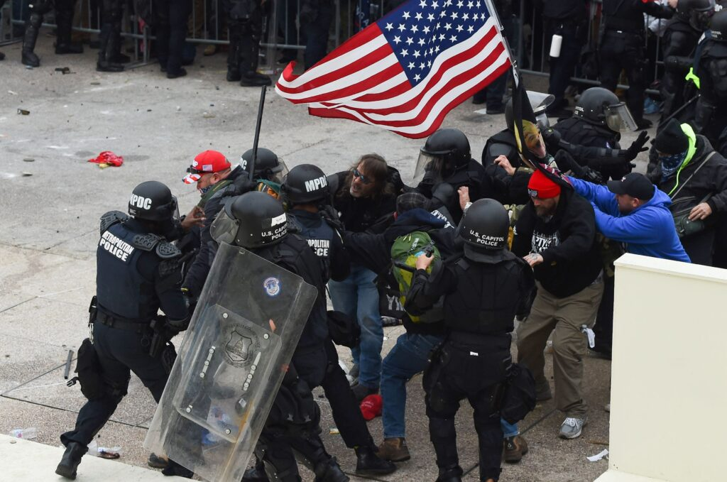 Pro-Trump rioters fight with Metropolitan Police at the U.S. Capitol building on Jan. 6. Photo: Getty Images
