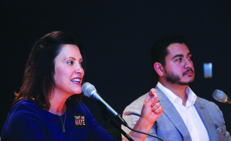 Whitmer campaigns at Dearborn town hall with El-Sayed