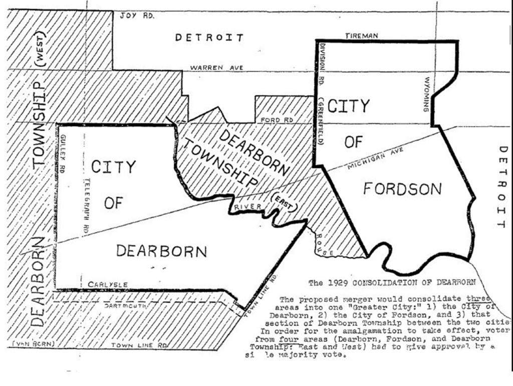 Map of Fordson and Dearborn Township