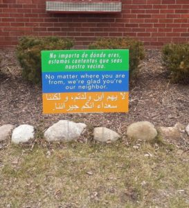 A welcome sign on a front lawn in Dearborn