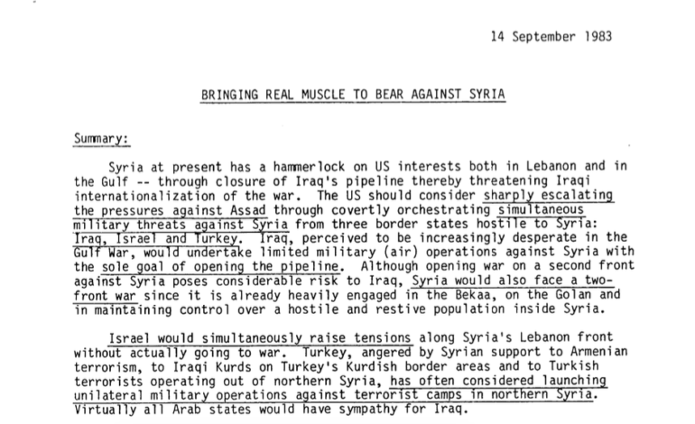 Reagan-era documents detail U.S.'s longstanding commitment to contain Syria