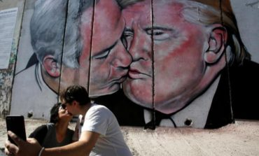 Donald Trump-Benjamin Netanyahu kiss mural unveiled on West Bank wall