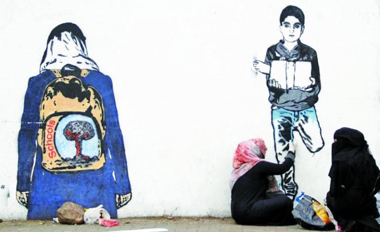 Street artist in Yemen remembers casualties of war