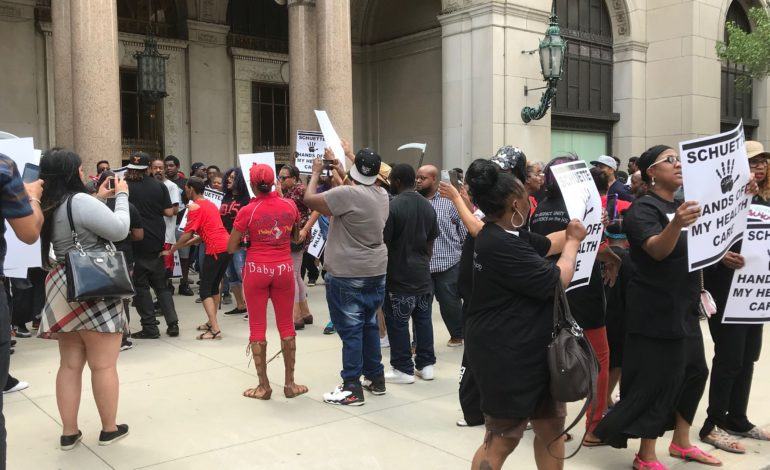 Low-income workers protest Bill Schuette's opposition to Medicaid