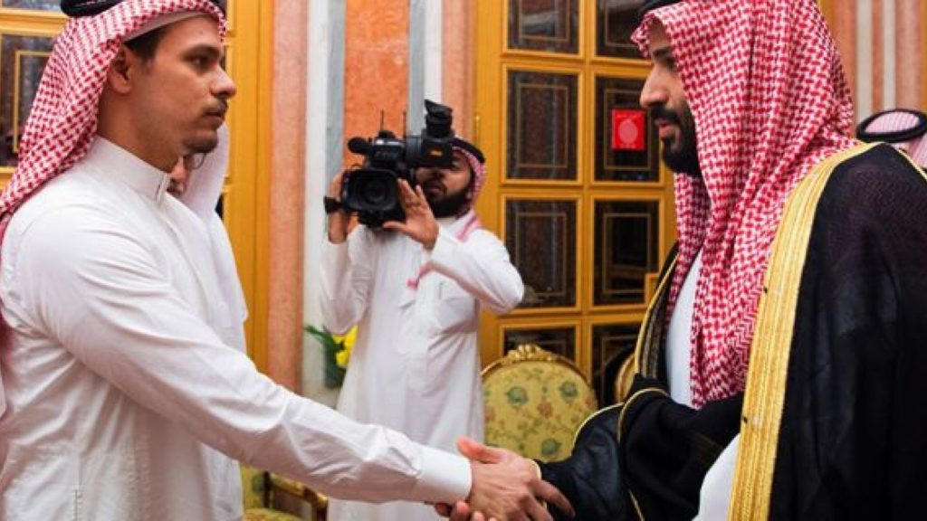 Saudi Crown Prince Mohammed bin Salman, right, shakes hands with Salah Khashoggi, a son, of Jamal Khashoggi, in Riyadh, Saudi Arabia. (AP)