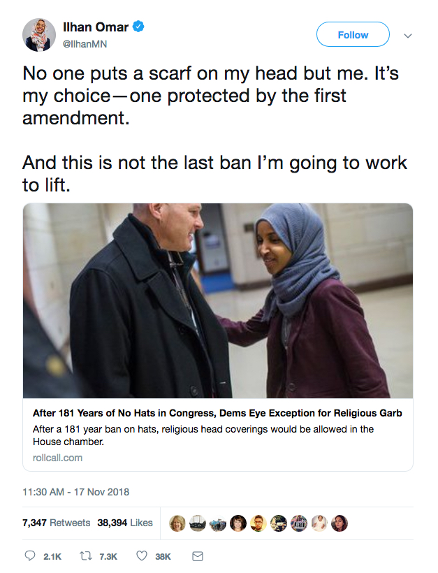 Ilhan Omar tweet on headware