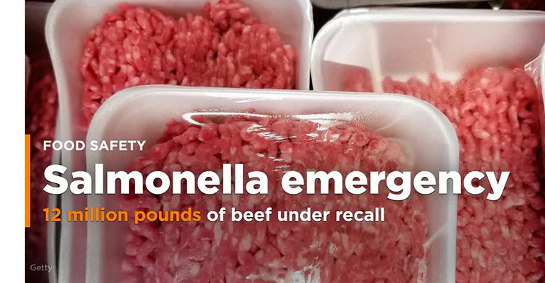 More than 12 million pounds of raw beef recalled due to possible salmonella contamination
