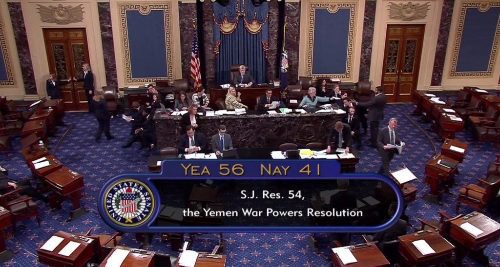 The senate votes to end U.S. involvement in the war of Yemen