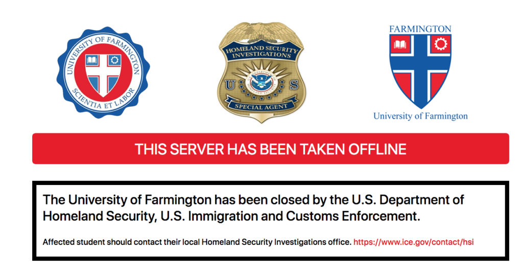 The message from Homeland Security on the University of Farmington website
