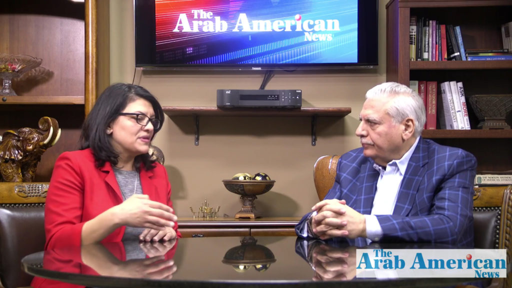 U.S. Rep. Rashida Tlaib speaking during an interview with The Arab American News