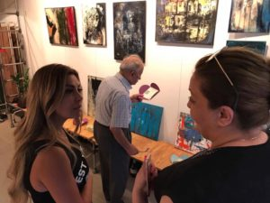 Rana Loutfi (left) showing her work in Beirut