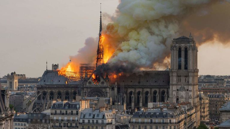 Notre Dame Cathedral in Paris, France on fire