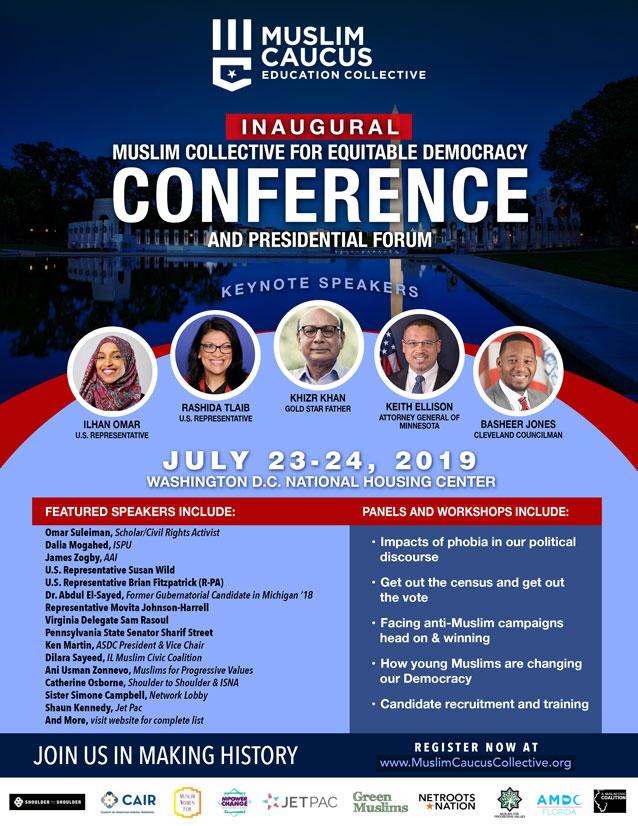 Conference will include keynotes, panels on civic engagement and fighting Islamophobia, and a presidential forum.
