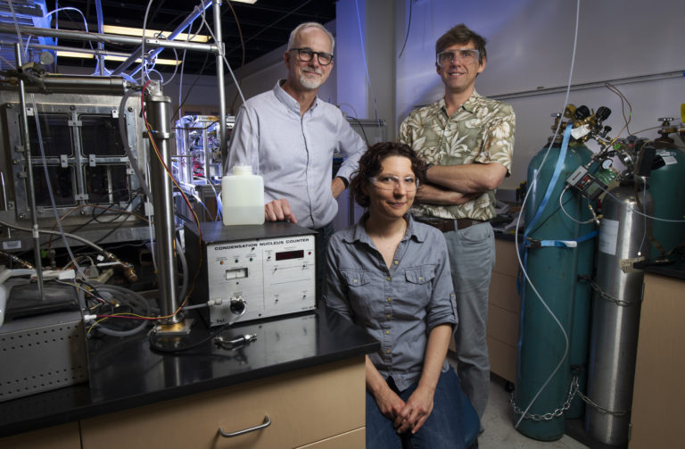 UCI researchers (from left) James Smith, professor of chemistry; Veronique Perraud, an associate project scientist in chemistry; and Sergey Nizkorodov, professor of chemistry – among others – used a custom-built apparatus to analyze emissions during a typical hookah smoking session in real time, finding that one draw from a pipe can contain as many noxious substances as smoke from an entire cigarette. Steve Zylius / UCI