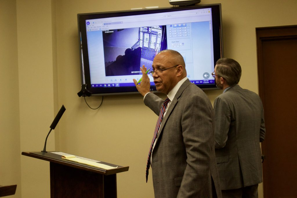 Ibrahim Aljahim's defense attorneys show video during a cross examination on October 31.