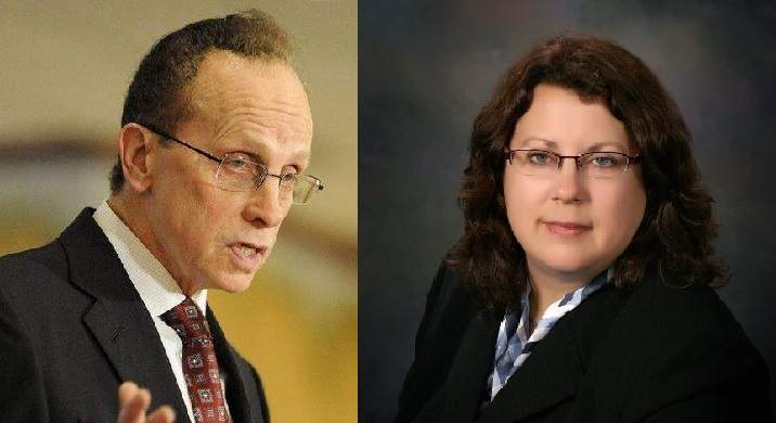Controversial Warren Mayor Jim Fouts and challenger Kelly Colegio.