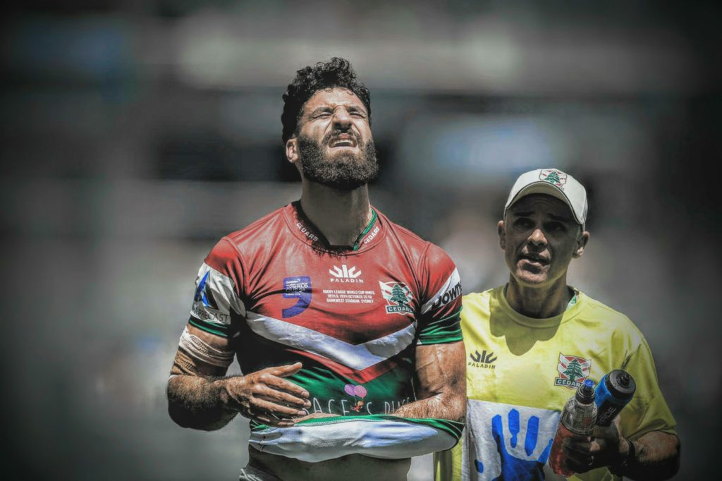Ahmad Harajly comes off the field after an injury during the round two Rugby League World Cup 9s match between England and Lebanon at Bankwest Stadium on October 19, 2019 in Sydney, Australia. Photo: Matt Blyth/Getty Images