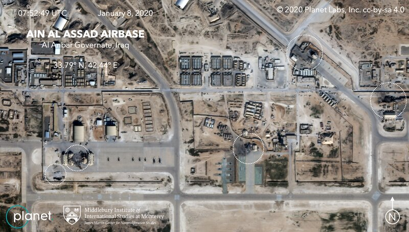 Satellite images captured by Planet Labs Inc. and analyses by the Middlebury Institute of International Studies at Monterey show the sites destroyed by Iranian missiles at Iraq's Ain al-Assad Airbase on Jan. 7