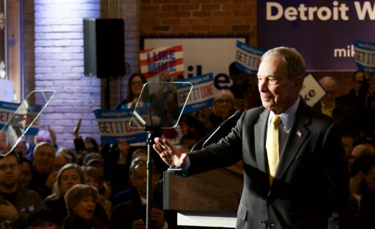 "Warren Evans praises ""self-made"" mogul Bloomberg at Detroit rally"