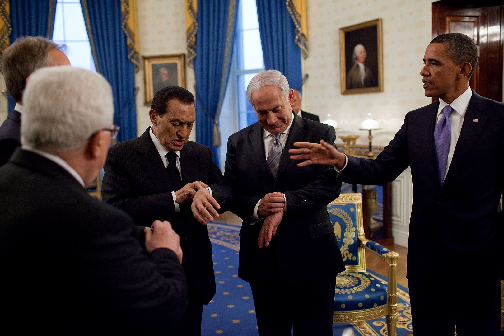 Mubarak, Netanyahu and President Obama at the White House in 2010 during Middle East negotiations. Photo: The White House