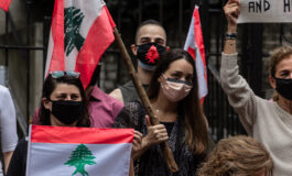 Subdued atmosphere dominates protest in front of the Lebanese embassy in Washington, D.C.