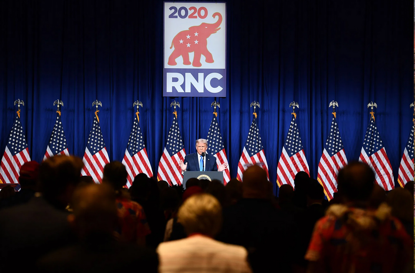 President Trump speaks during the first day of the Republican National Convention in Charlotte North Carolina.'