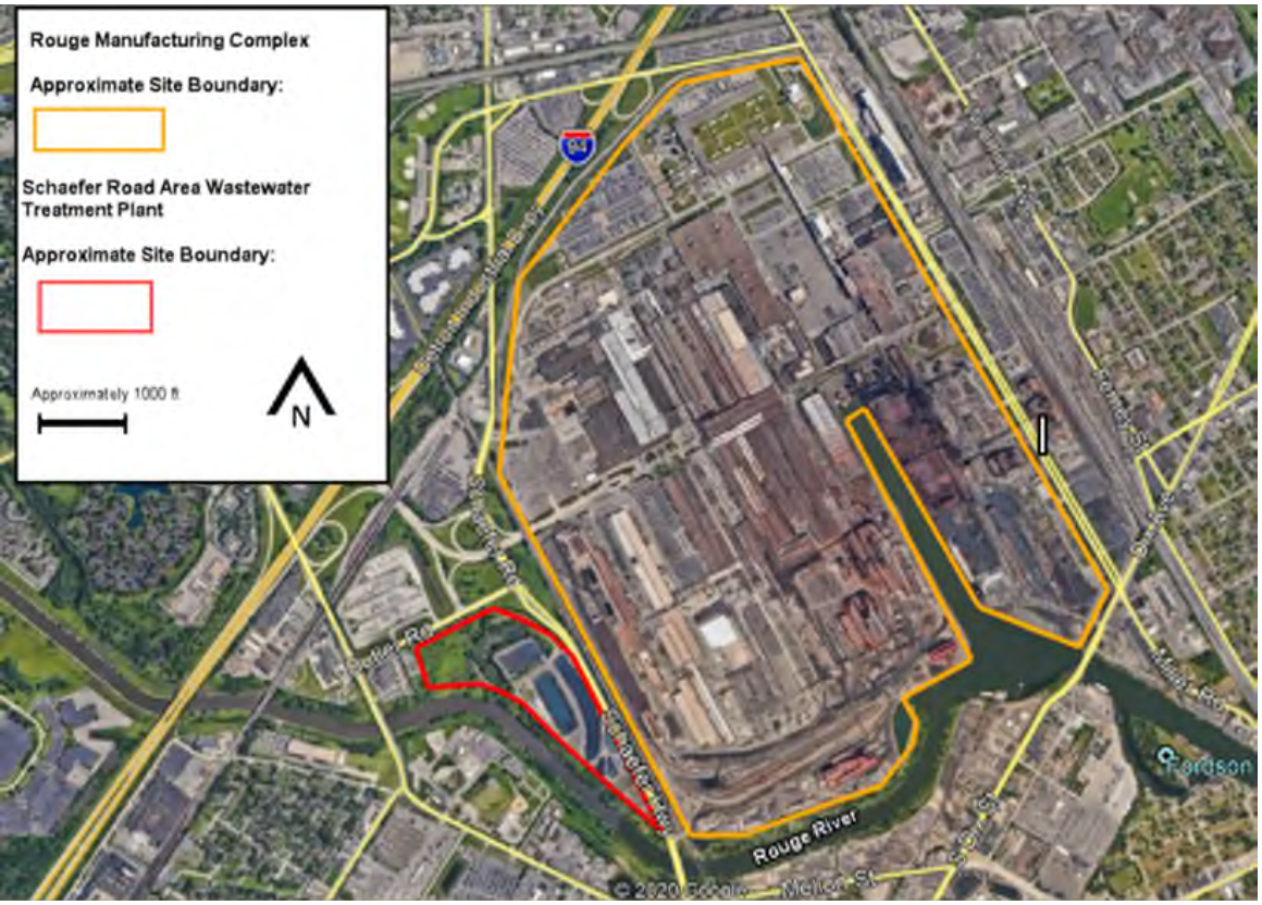 A map showing Rouge Manufacturing Complex and the Schaefer Road Area Wastewater Treatment Plant