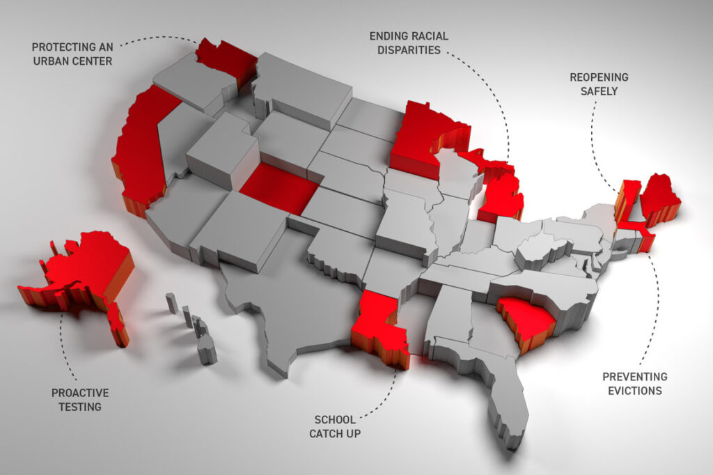 A three dimensional map of the United States, A three dimensional map of the United States, highlighting which states did the best in their response to Covid-19. Illustration by Tucker Doherty, with map geometry by Bharadwaj Balraj which states did the best in their response to Covid-19. | Illustration by Tucker Doherty, with map geometry by Bharadwaj Balraj