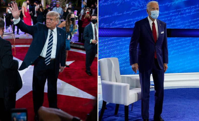 In split-screen town halls, Trump and Biden squabble over coronavirus response