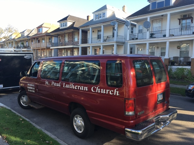 A St. Paul Lutheran Church van outside the Hamtramck Freedom Village