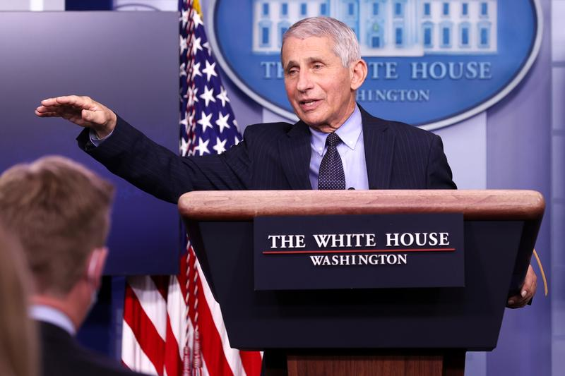 Dr. Anthony Fauci, the country's top infectious disease expert, at a White House press briefing, Jan. 21. Photo: Jonathan Ernst/Reuters