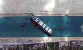 Stuck ship partially freed in the Suez Canal
