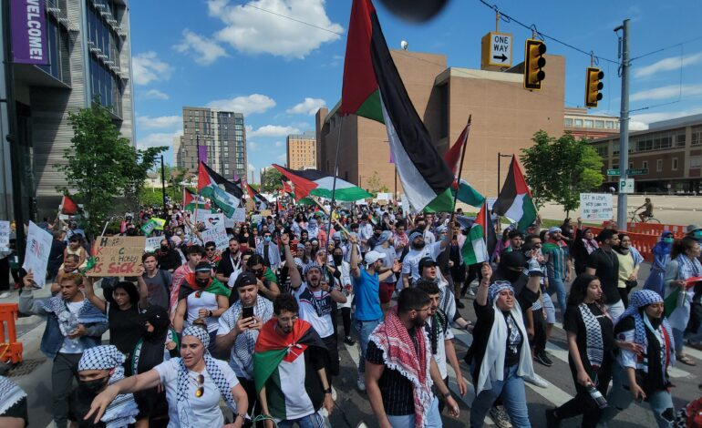 """Three thousand protesters mobilize in downtown Ann Arbor, demand """"Free Palestine"""""""
