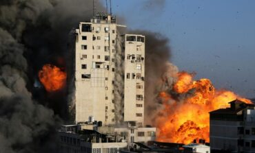 Israel levels third high rise as bombardment of Gaza continues